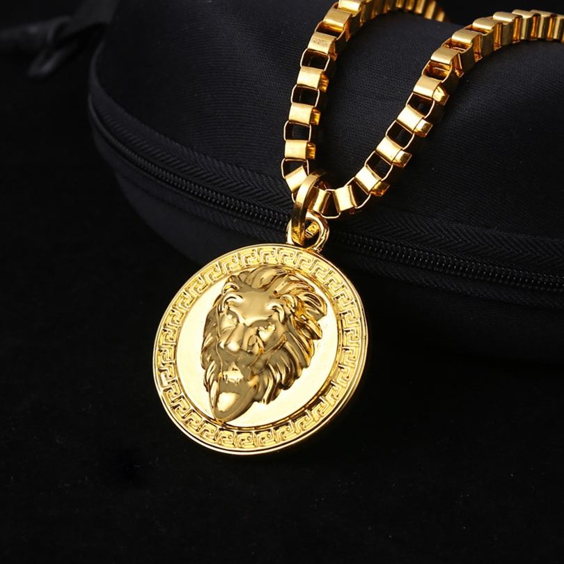 mens medallion pattern gold tone pendant necklace chain