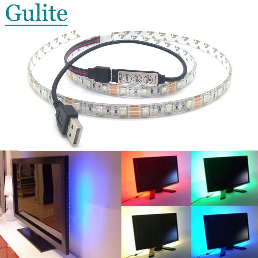USB LED Strip 5050 3528 Dustproof Waterproof Tape DC5V TV Background Lighting DIY Decorative Lamp RGB/Warm White/White(China (Mainland))