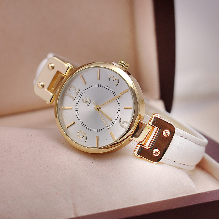 2015 Fashion Ladies pure clocr PU leather slim watch good quality 18K gold plating bezel round dial analog hand clock women gift - Gnomon Industry Co., Ltd store