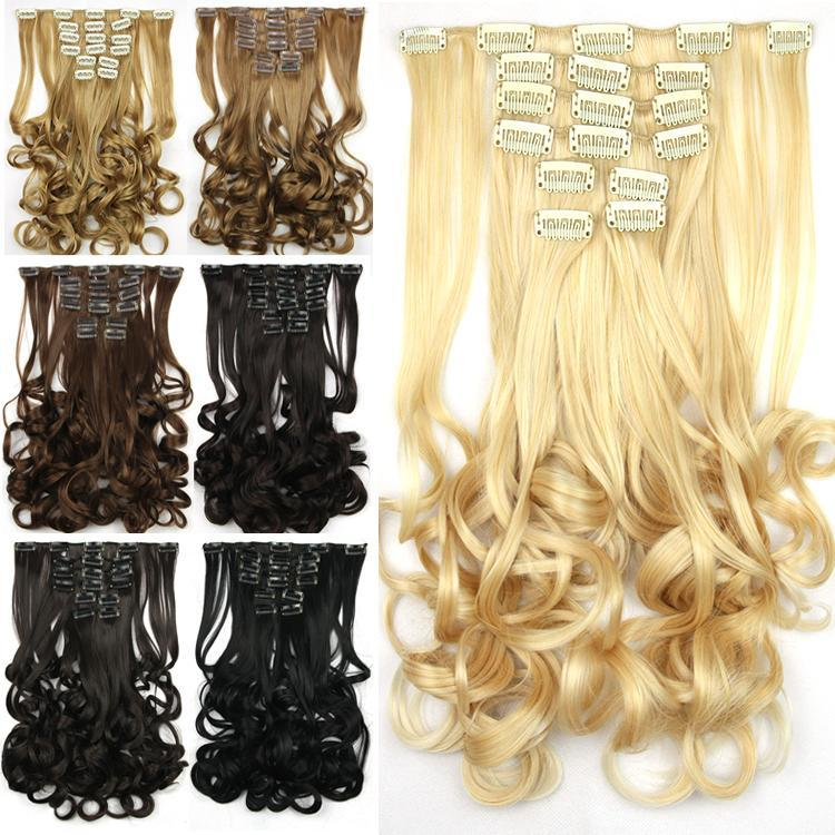 Гаджет  7 colors, 8pcs/set, clip in hair extension, curly wavy synthetic hair, cosplay hair None Волосы и аксессуары