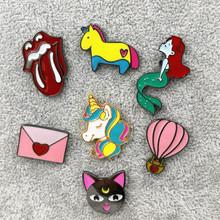 X191 New Cartoon Cute Animal Unicorn Hot air Balloon Cat Envelo Metal Brooch Pins Button Pins Fashion Jewelry Wholesale(China (Mainland))