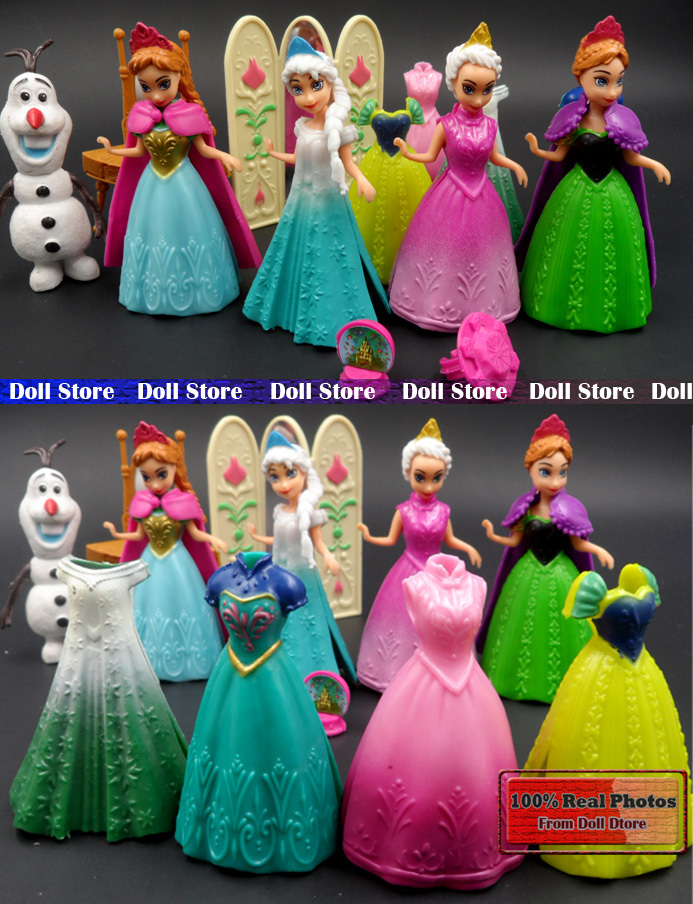 2015 Hot New 13PCS/lot 9.5cm anime Elsa Olaf Anna Action Figures set doll dress can change/Mirrors/ kids toys for girl(China (Mainland))