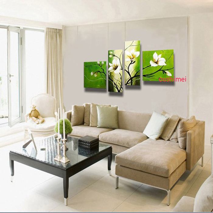 Hand Painted White Flower Oil Painting On Canvas Home Decor Green Painting Wall Art Pictures For Living Room Decor Hang Craft(China (Mainland))