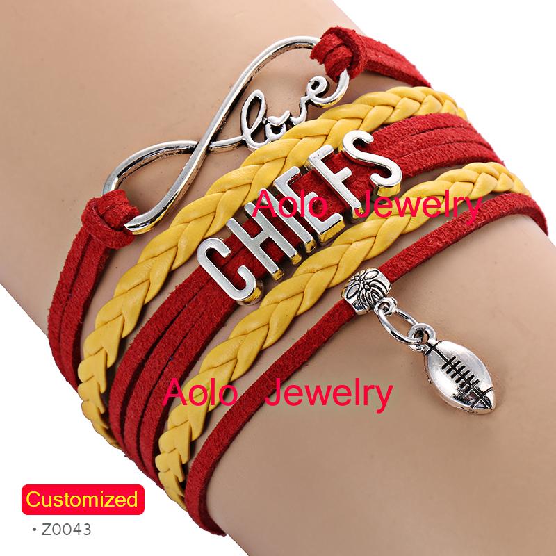 6Pcs/Lot KANSAS CITY Football Infinity Bracelet RED/YELLOW Make Your Own Design Free Shipping(China (Mainland))