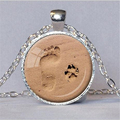 DOG LOVER NECKLACE Dog Paw Pendant Paw Print Jewelry Paw and Footprint Pendant Gift for Dog