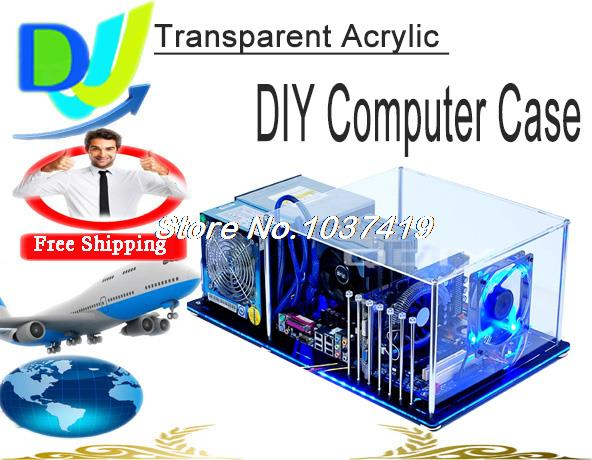 DIY PC-BX7 ATX Horizontal Bare Frame/Half Mask PC Transparent Acrylic water cooling computer case with fixed parts and LED light(China (Mainland))