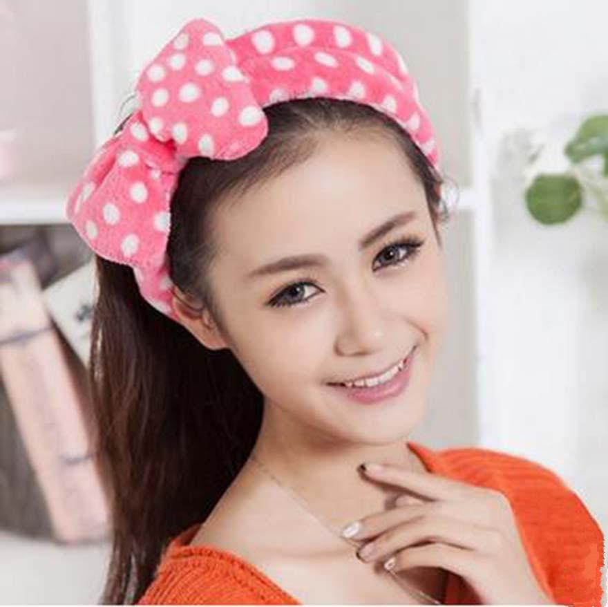 New 2016 Pink Big Bowknot Elastic Soft Dot Wash Makeup Hair Band Shower Band Headband(China (Mainland))