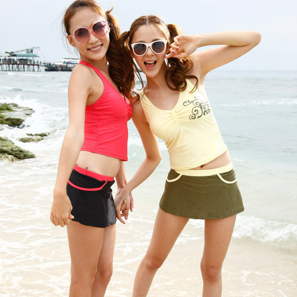 Women's push up swimwear split skirt style swimsuit big small bikini