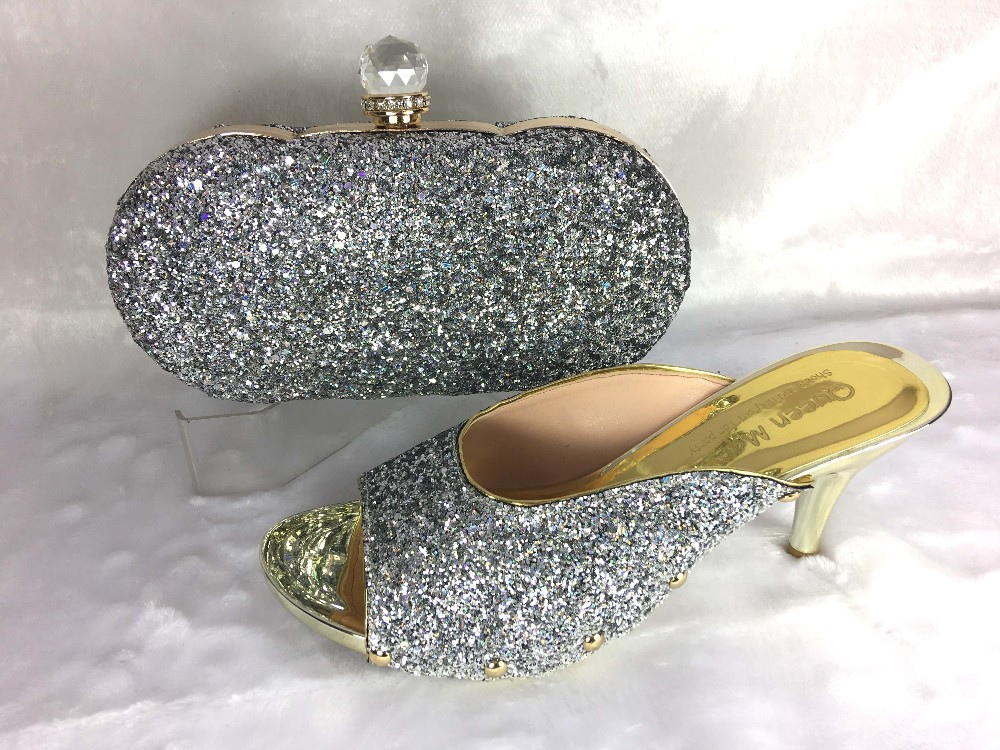 purple Ladies Style Italian Shoes with Matching bags For party  good selling african Shoes And Bags to match set!MWE1-6