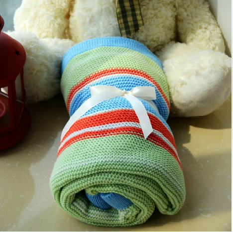 Pure cotton knitted blanket,The summer blanket air conditioning office Baby stroller afternoon nap blanket(China (Mainland))