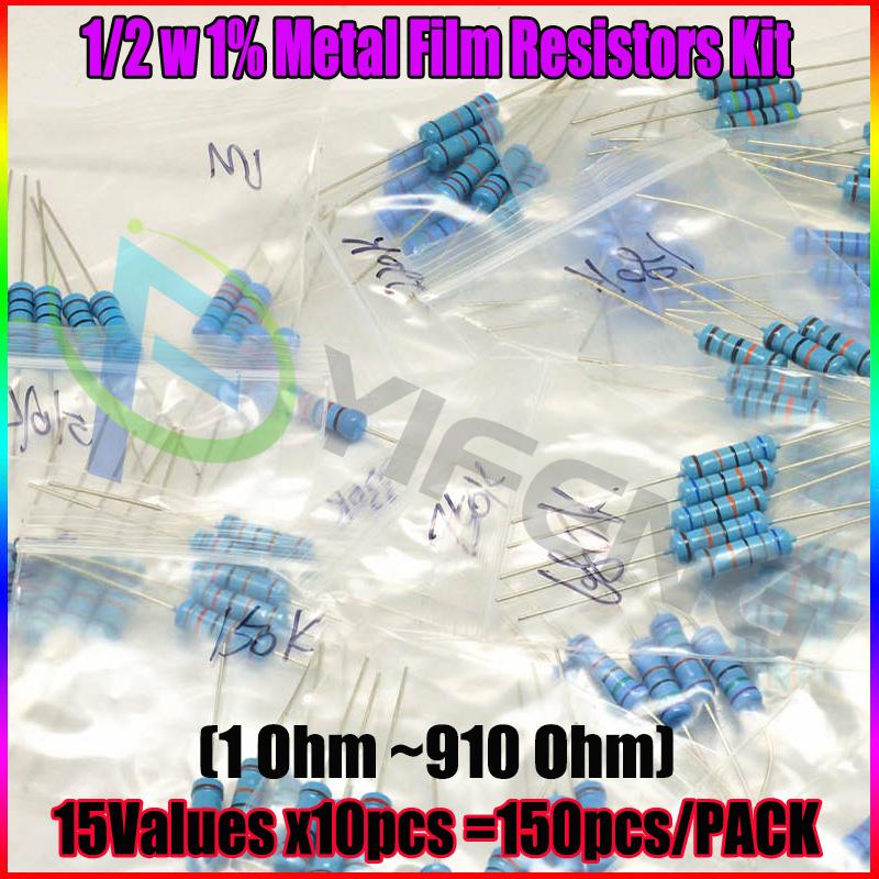 150PCS/lot 1/2W 15valuesX10pcs=150pcs 1R~910R Metal Film Resistor Kit Resistor Pack 0.5W 1% samples psck Assorted Kit(China (Mainland))