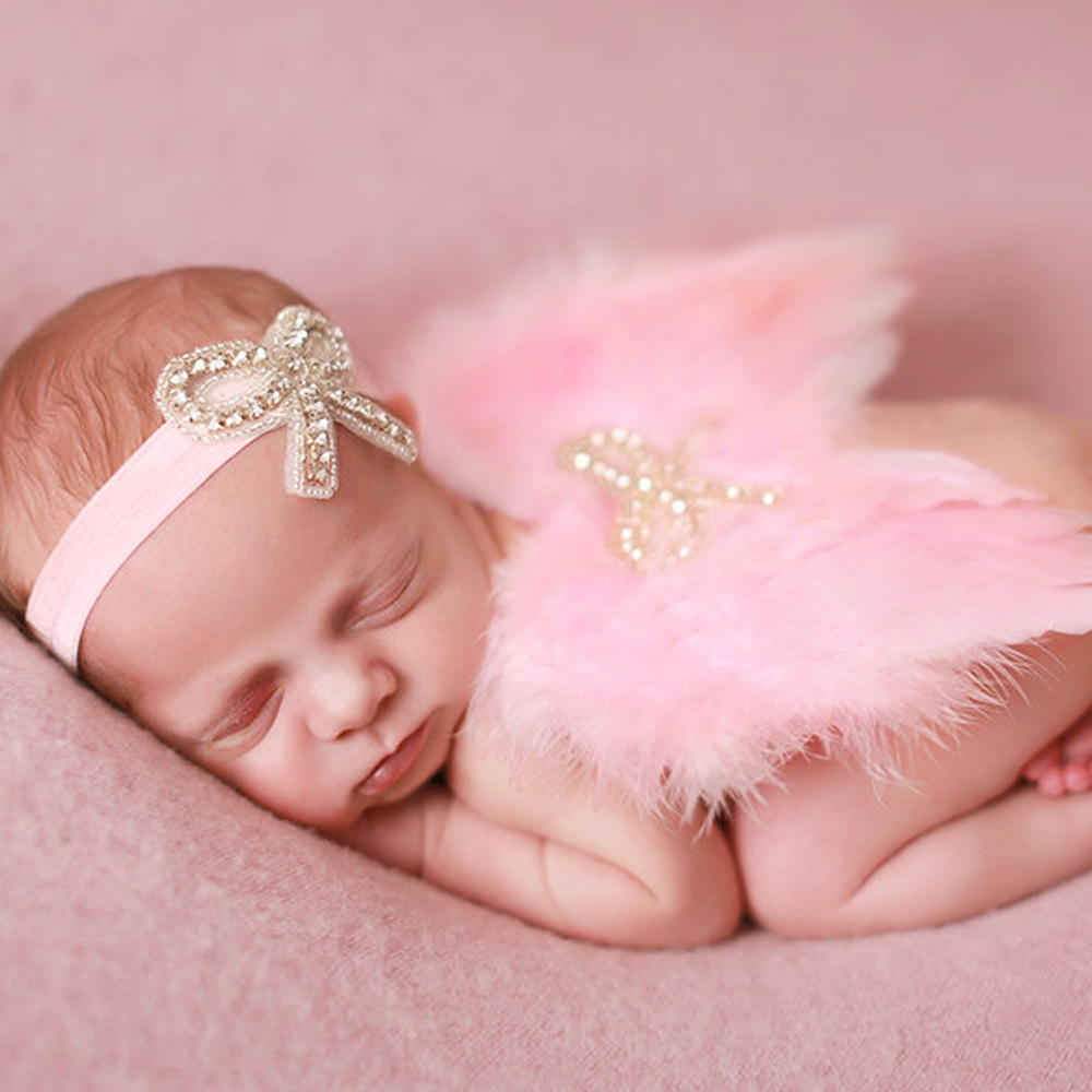 New Angel Feather Wings Rhinestone Bowknot Elastic Headband Newborn Feather Butterfly Set Photo Prop DIY Baby Hair Accessories(China (Mainland))