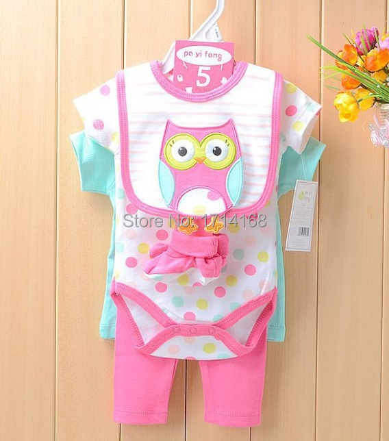 Baby Gear 5-pieces Suits Baby Bodysuits Bibs Socks PP Pants Clothing Sets Retail Top Quality(China (Mainland))