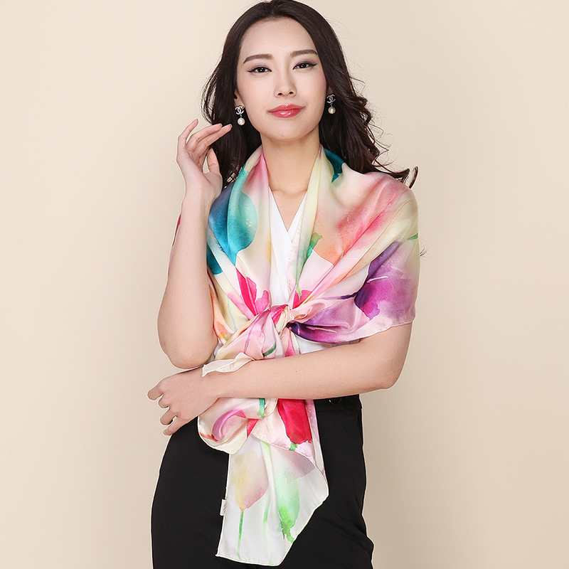 2016 New Style Shawl Brand Design Silk Scarf 175x52cm Long Hijab Fashion Silk Scarves For Women 100% Silk Beach Cover-ups(China (Mainland))