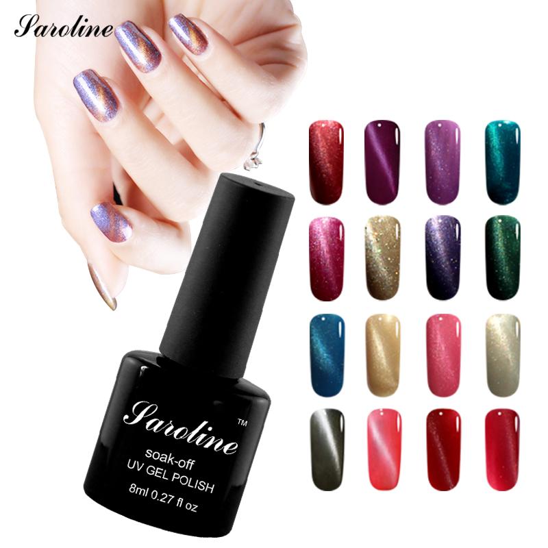 Saroline 8ml UV Varnish 3D Cat Eyes Gel Nail Polish Magnetic Color Changing Nail Polish Lacquer Nails Gel Professional(China (Mainland))