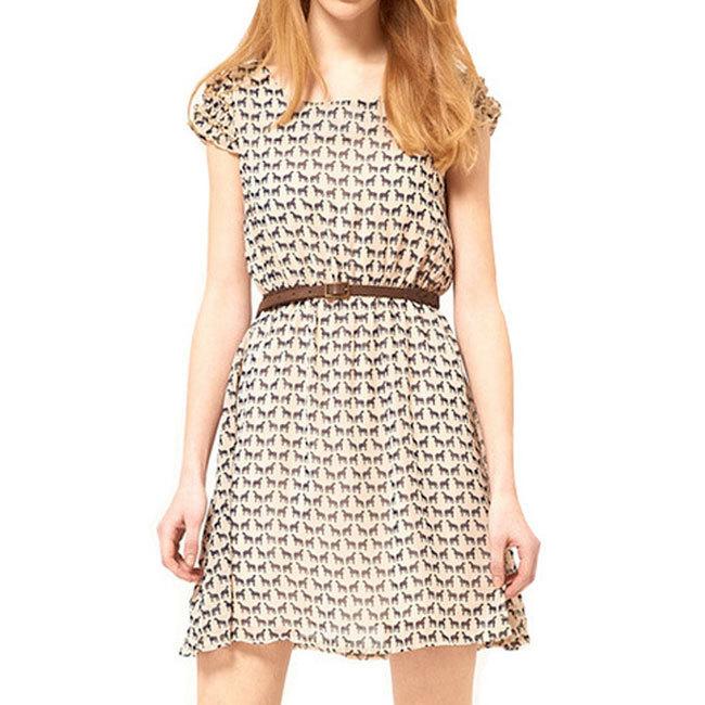 BOHO summer women new fashion sexy animal deer print dresses short ruffled sleeve O neck chiffon girls mini dress with belt(China (Mainland))