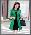 2016 spring and Autumn New Korean thin double breasted coat lapel size ladies long coat lace