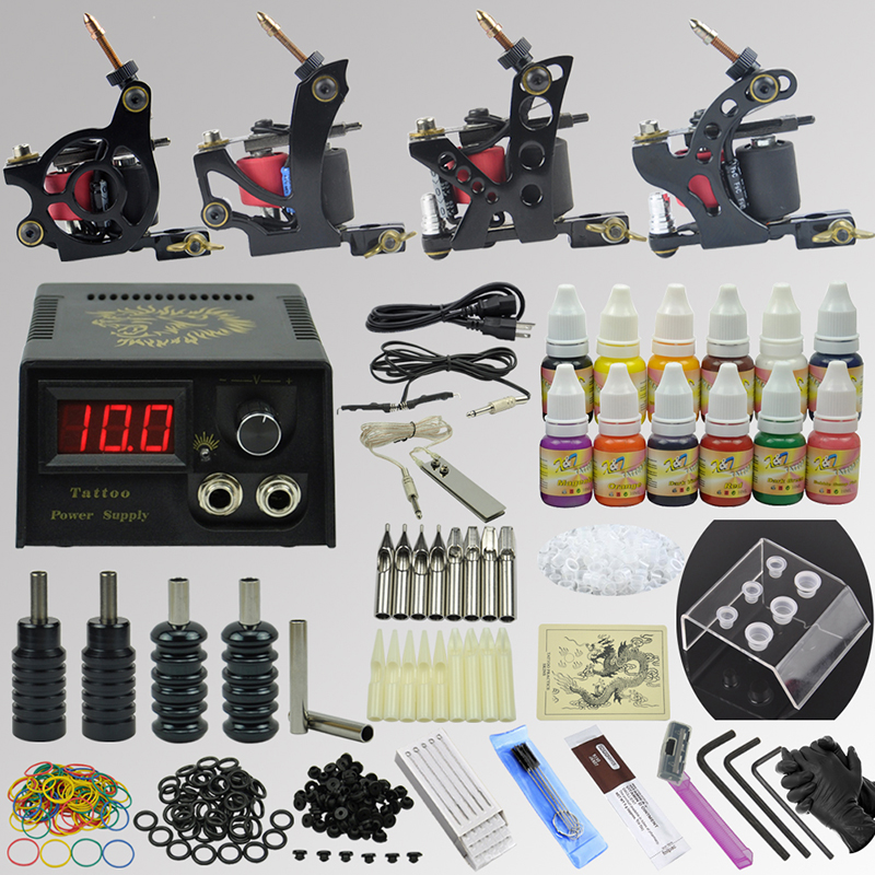OPHIR Professional 4 Machine Gun Tattoo Kit 12 Colour Ink Pigment Needle Set _TA088