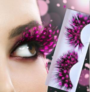 1 pair Feather ballet fancy dress party Colorful False Eyelashes Artificial Individual Fake Eyelashes make up(China (Mainland))