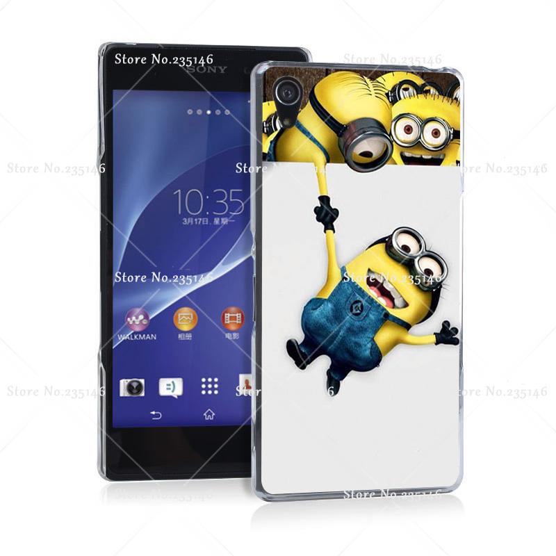 cool minions help me Transprent Hard Case Cover for Z2 Z3 Z4 Z5 Compact(China (Mainland))