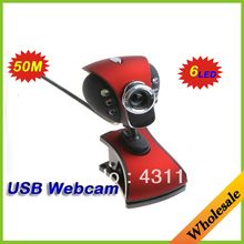 Wholesale USB 2.0 50.0M 6 LED Webcam Camera USB Web Cam HD with MIC for Computer & Networking PC accessories for laptops