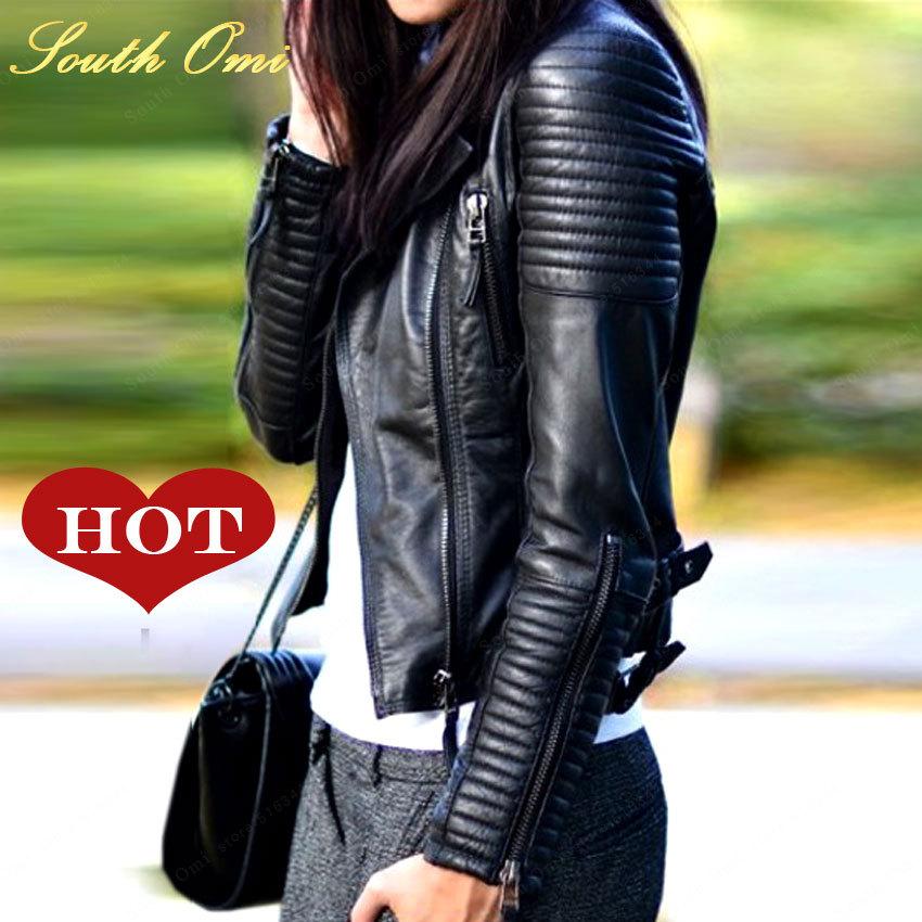 2015 New Fashion Autumn Winter Women Brand Faux Soft Leather Jackets Pu Black Blazer Zippers Coat Motorcycle Outerwear &Rivet(China (Mainland))