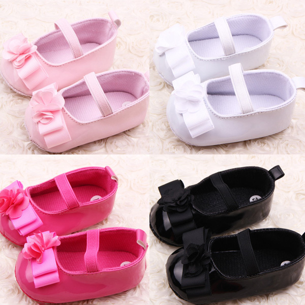 Infant Girl Ribbon Flower Baby Shoes Toddler Soft Sole PU Leather Crib 0-18 Months - Always Fashion Shop store