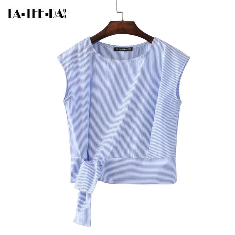 La-Tee-Da!Summer 2017 Striped Patchwork Sleeveless Blouses Shirts Women Lady Fashion New Side Bandage OL Office Elegant Lady