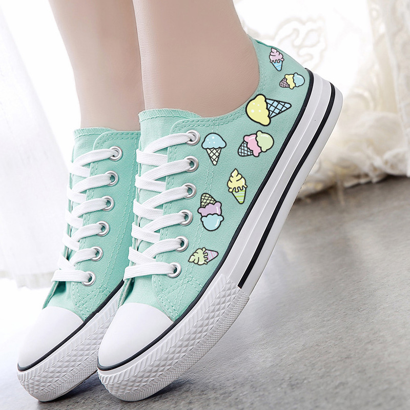 Women's Casual Canvas Shoes Fashion Spring And Summer Canvas Shoes Ice Cream Sweet Fresh Low-top Shoes Size35~39(China (Mainland))