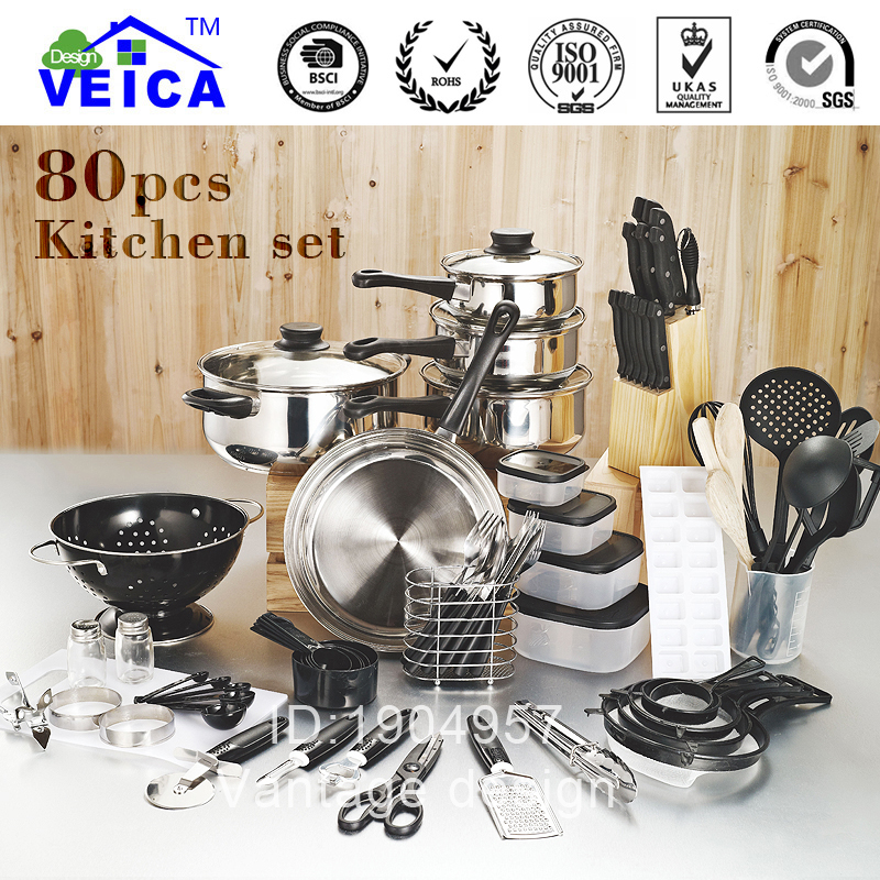 Top fashion real cookware cooking pots and pans set 80 for Best kitchen set