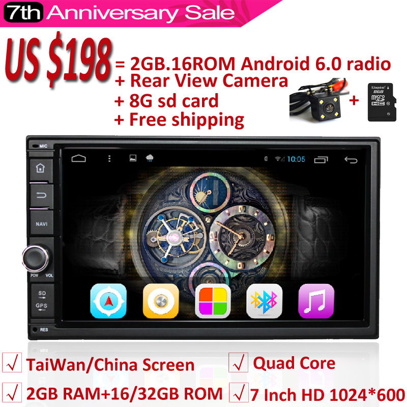 Android 6.0 Car Radio Quad Core Universal Car Audio Stereo GPS Navigation Double 2 Din 1024*600 Multimedia Player for ford focus(China (Mainland))