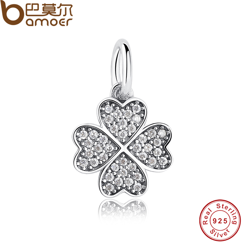 Happiness Four-Leaf Clover Pendant Charms Fit Original Bracelet & necklace 925 Sterling Silver Symbol Of Lucky In Love PAS136(China (Mainland))