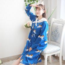 Soft sister young girls sailor collar navy style cartoon cat print loose blue dress lolita cute Anime HARAJUKU one piece dress(China (Mainland))
