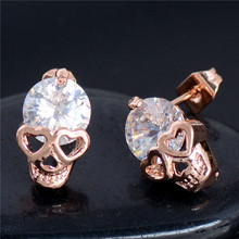 Free Shipping! Charming 2pcs=1pair 18K gold filled 100% Cubic Zirconia CZ Brilliant Skull Heads Woman's Stud Earring Piercing(China (Mainland))