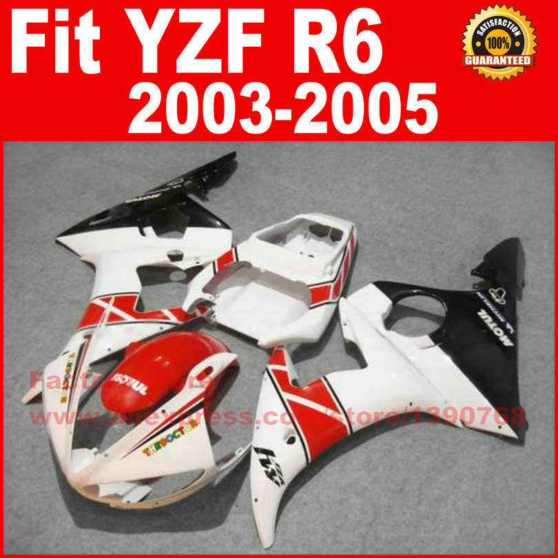 Road/racing ABS motorcycle fairings kit for YAMAHA R6 2003 2004 2005 YZF R6 03 04 05 white red fairing bodywork part(China (Mainland))