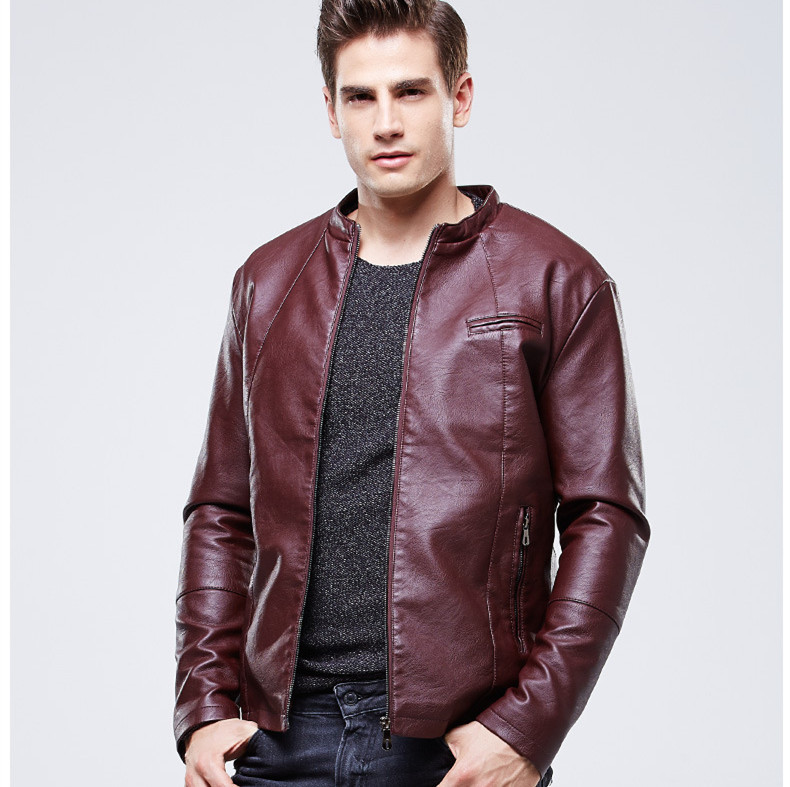 Popular Brown Leather Bomber Jacket Men-Buy Cheap Brown Leather ...