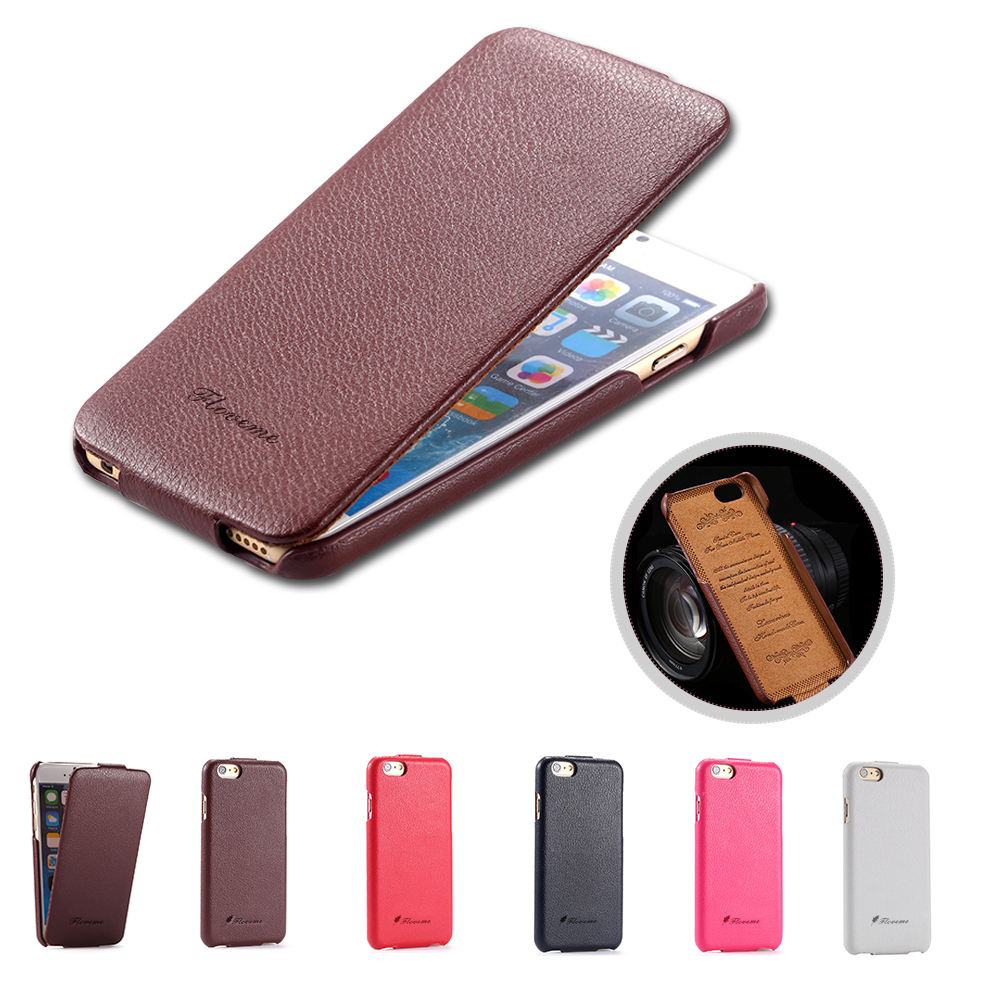 Fashion Style Plaid Geniune Cowhide Leather Case For Apple Iphone 6 4.7inch Vertical Book Phone Flip Cover For Iphone 6(China (Mainland))