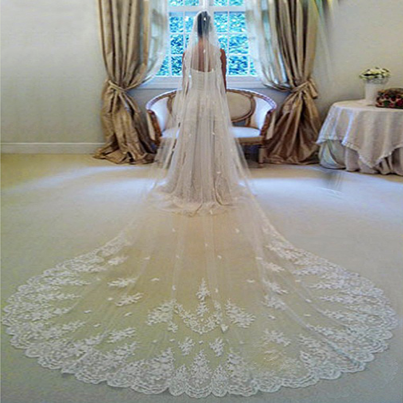 In Stock 3 Meters Long Wedding Veil Bridal Veils White Ivory Lace Edge With Comb Wedding