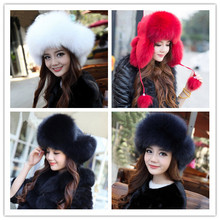 Real fox fur hat men and women ski cap thickened great warm hat QS032(China (Mainland))