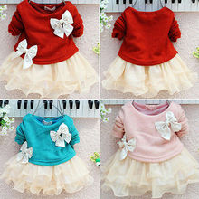 hot sale!2013 New red and pink color baby kids dresses Lace Bow Princess Long Sleeve girl dress 3M-2Y Clothes