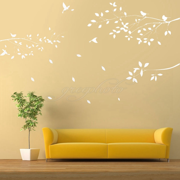 650 600mm white trees branches birds wall decor art diy for Diy tree wall mural