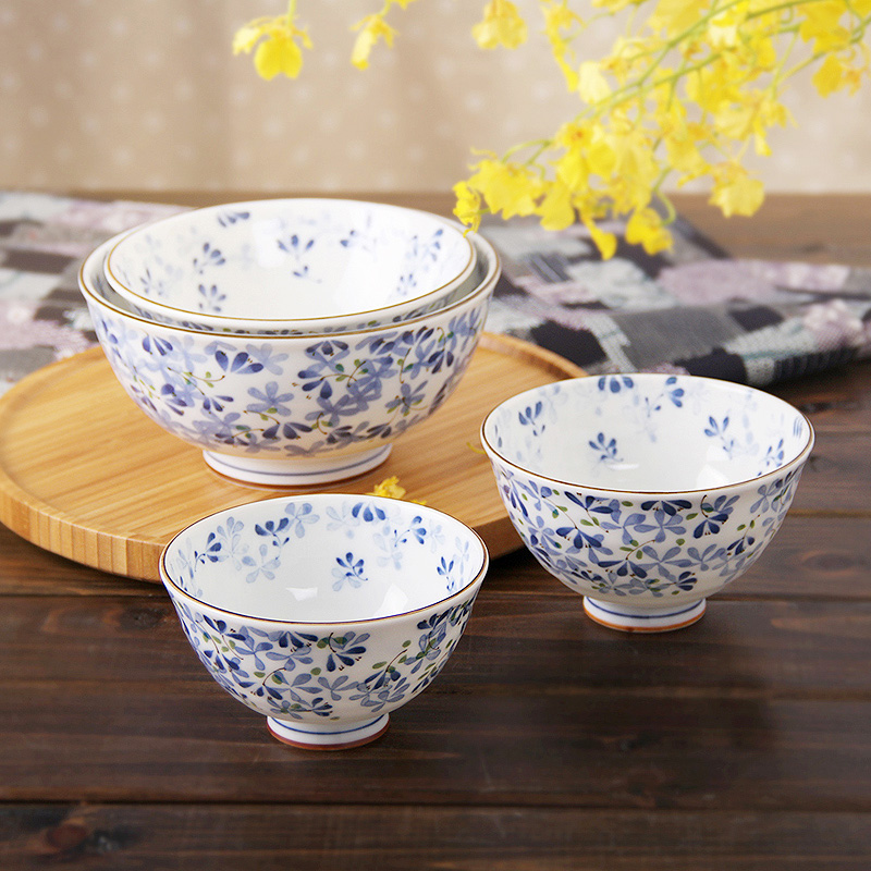 4.5Inch Made In Japan Ceramic Bowls Floral Printed Handpainted Soup Bowl Salad Noodles Creative Cutlery Tableware Food Container(China (Mainland))