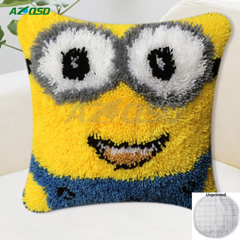 AZQSD HOT Latch Hook Cushion Kits Cartoon DIY Needlework Crocheting Kit Unfinished Yarn Embroidery Pillow Craft Gift LH028-UP(China (Mainland))