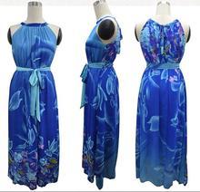 M-7XL high quality 2016 new bohemian style plus size round neck sleeveless sexy elegant big swing printing dress