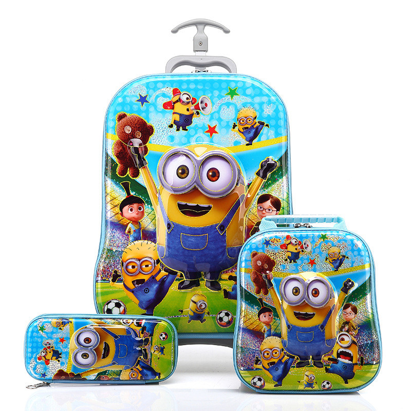 New Design Boys Minions 3D Luggage+Pencil Bag Set/Despicable Me Travel Luggage 3Pcs Suit/Kid Cartoon Printed School Trolley Bags(China (Mainland))