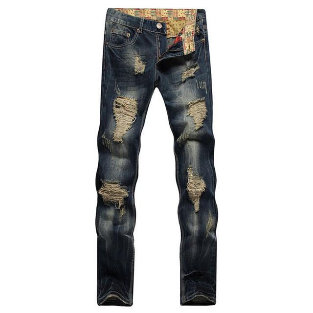 Мужская повседневная отверстия рваные джинсы Мужской моды патч прямые джинсовые брюки ...