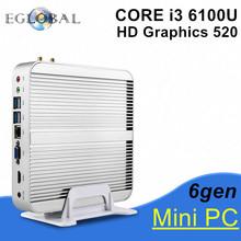 2017 Eglobal 6Gen Intel Core i3 6100U New Skylake PC Mini Computer 4K HTPC Intel HD Graphics 520 Gaming PC Ultra Nettop(China (Mainland))