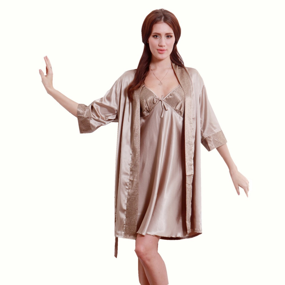 2014 Summer Thin Pure Silver Coffee Women Robes,Spring New Arrival Half Sleeves Graceful Female Robe For AutumnОдежда и ак�е��уары<br><br><br>Aliexpress
