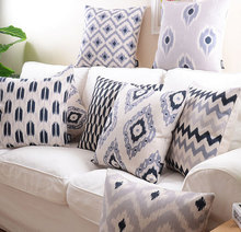 Boho style black grey geometric cushion cover pillow/almofadas case