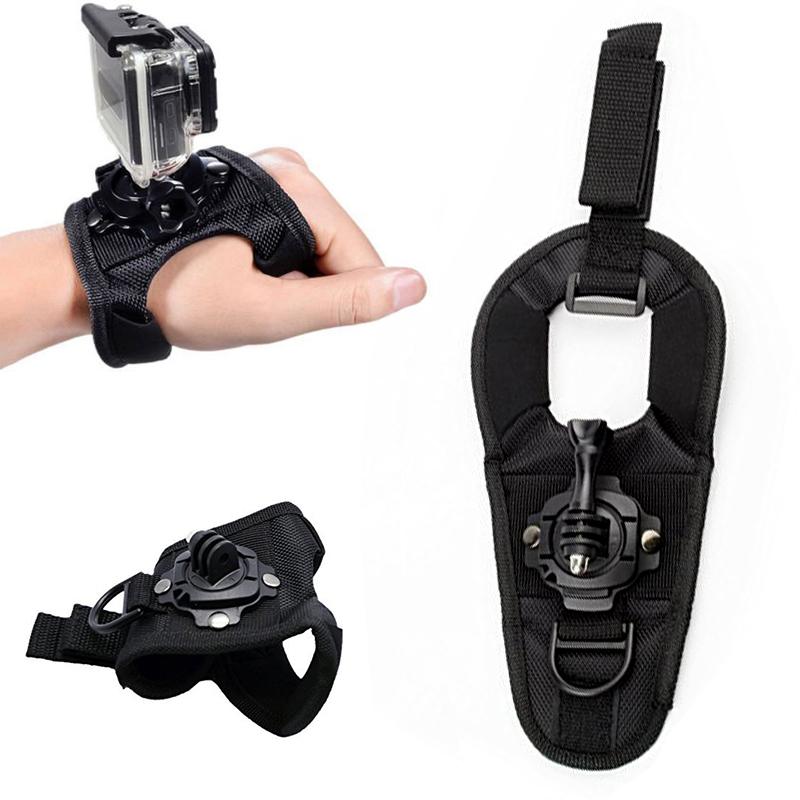 Glove Wrist Band 360 Degree Swivel Rotation Hand Strap Belt Tripod Mount For GoPro Hero 4/3+/3 Go Pro SJCAM SJ4000 SJ5000 SJ6000(China (Mainland))